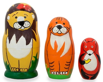 "4.25"" Set of 3 Lion, Tiger, and Fox Wooden Nesting Dolls"