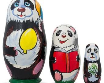 """4.25"""" Set of 3 Panda Bears Family Wooden Nesting Dolls"""