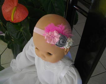 3 baby headband flower pink, grey, Vanilla Satin