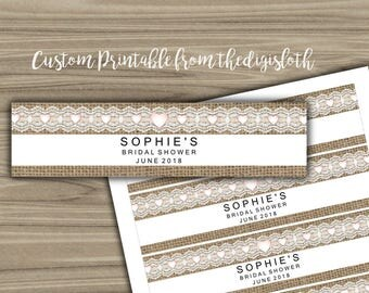 Personalized - Water Bottle Labels - PRINTABLE - DIY - Custom - Bridal Shower - Labels - Burlap and Lace - Hearts - Rustic - L46