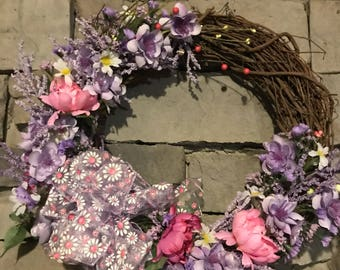 Spring & Easter Holiday wreath with Hahd Tied Bow.