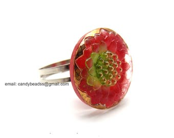 Czech glass button ring; adjustable ring; glass ring; red and gold ring
