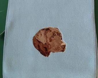 Chocolate Labrador Embroidered Soft Fleece Sacrf
