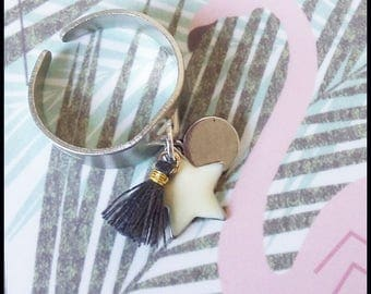 Ring adjustable silver charm star ponpon ♥ ♥