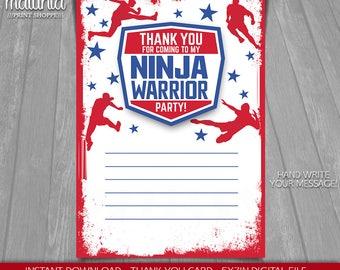 American Ninja Warrior Thank you card - INSTANT DOWNLOAD - Ninja Warrior card - Ninja Birthday - American Ninja Warrior Birthday Party