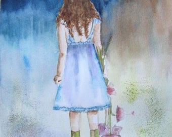 """peinture aquarelle  """"la petite fille au bouquet"""""""
