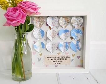 Wedding Frame /Wedding Gift / Gifts For Couples /Engagement Frame/Anniversary Gift / Engagement Gift /Travel Frame /Map Frame/Map Heart Gift