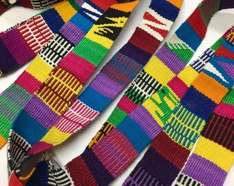 Hand-Made multi color Strapping. White/multi color design, Hand Loomed Textile, 3 Yard Piece, .91 meter piece, Guatemala
