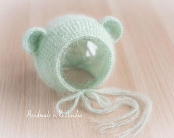 Baby Hat with Ears, Newborn Hat, Sitter Hat, Mohair Bear Bonnet Photo Prop