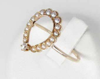 art nouveau pearl horseshoe ring, antique white pearl and diamond horseshoe ring, diamond lucky horseshoe ring, antique pearl diamond ring