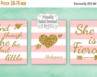 SALE Printable Pink Gold Tribal Hearts Baby Nursery Wall Art Decor Though She Be But Little Girl Kids ~ DIY Instant Download ~ 3 8x10 Prints