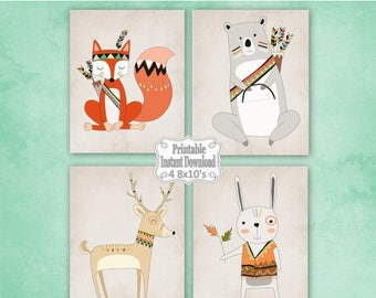 SALE Printable Tribal Woodland Animals Nursery Wall Art Decor with Bear Fox Deer Rabbit Baby Child Kids ~ DIY Instant Download ~ 4 8x10 Prin
