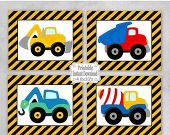SALE Printable Construction Trucks Nursery Wall Art Decor Baby Child Kids Little Boy ~ DIY Instant Download ~ 4 8x10 Prints