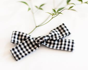 hair bow - black and white gingham - hand tied bow - great gift