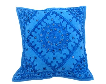 """Indian Pure Cotton Cushion Cover Home Mirror Work Decorative Sky Color Size 17x17"""""""