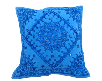 Indian Pure Cotton Cushion Cover Home Mirror Work Decorative Sky Color Size 17x17""
