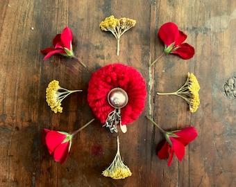Handmade Brooch - Dangling Afghani Button Red small Afghani ethnic bohemian