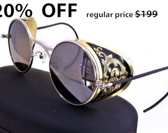 Steampunk Goggles Aviator Sunglasses Brass Side Shields Victorian engrave vintage Driving glasses Zeiss Mirror Silver