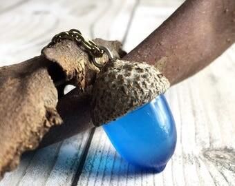 Acorn necklace-resin jewelry-resin acorn-acorn jewelry-blue acorn-blue jewelry-forest jewelry