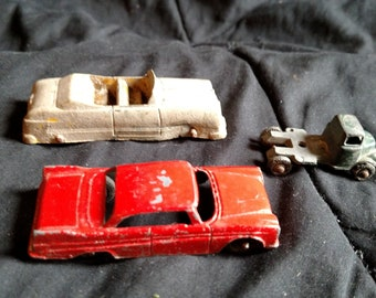 Lot of 3 vintage / antique diecast toy cars Tootsietoy , Barclay etc 1930's 50's