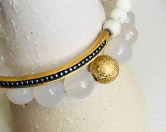 Bracelet - Starlight Stretch white genuine agate with gold or silver accent bead