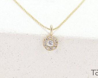 Diamond Necklace, Gold Diamond Necklace, Circle Diamond Necklace, 14k Solid Gold, Elegant Style, Delicate Jewelry, Anniversary Gift
