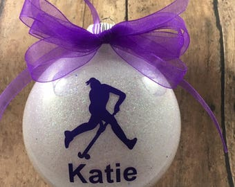 Personalized Field Hockey Player Glitter Christmas Ornament