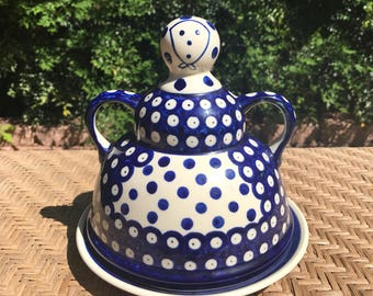 Boleslawiec Polish Pottery Domed Cheese Lady Cheese/Butter Dish