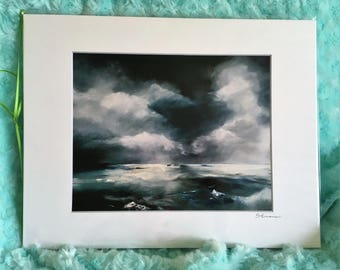 "On the Horizon - 8""x10"" Physical Print of Abstract Stormy Seascape Oil Painting"