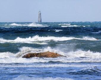 High tide, choppy surf, Minot Light, Scituate, MA, South Shore, Boston, nautical decor, ocean, seascape, lighthouse, archival, signed print