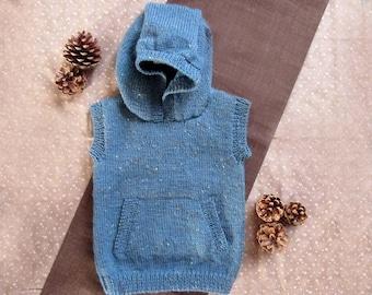 HOODY VEST knitting pattern no. CC02, PDF digital download