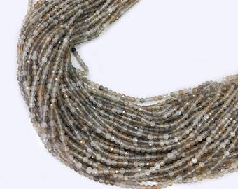Natural Moonstone beads ,Colorful Moonstone beads , Faceted Moonstone beads , Round stone Beads , 2-3mm 15.5 inch strand
