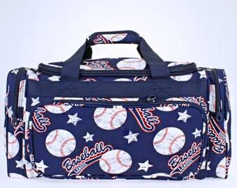 Baseball Navy Duffel Bag/ Boy's Bag/ Overnight Bag/ Weekender Bag/ Monogram Bag