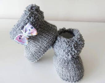 grey fur boots 3/4 month baby