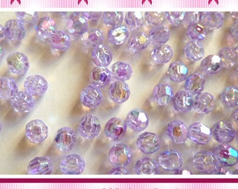 100 beads round faceted purple AB 6mm - AB03 coating-