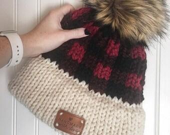 Knit Hat, Buffalo Plaid Beanie + The True North Beanie + FUR POM POM