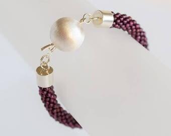 Garnet bracelet with silver clasp, dark purple beads, beaded bracelet, handmade bracelet, crocheted bracelet