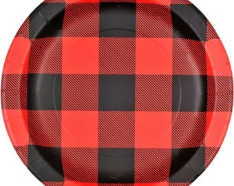 Buffalo Plaid Gingham Lunch Plates (8 Pack)