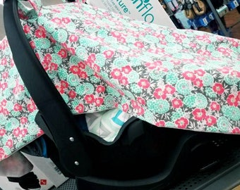 Floral Baby Girl Car Seat Canopy Cover