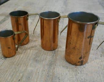 Vintage Copper Measuring Cups - Set of 4