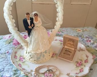 Vintage 1950 Elegant Chalkware Wedding Cake Topper - Venice California - Coast Novelty Mfg. Co.