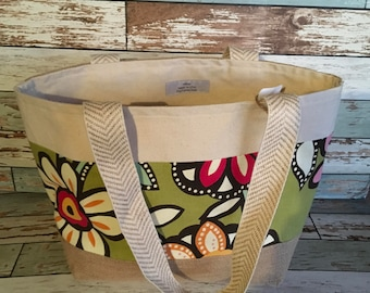 Green Flower Tote