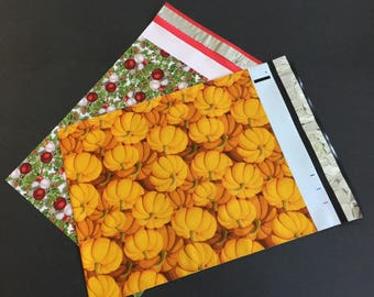 200 Designer 10x 13 PUMPKIN and HOLLYBERRY Poly Mailers 100 each Envelopes Shipping Bags Christmas Fall Halloween