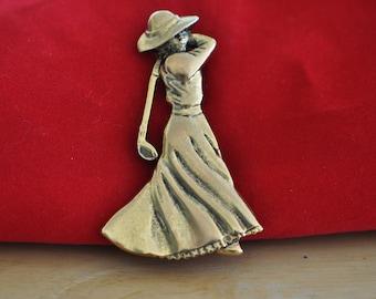 Vintage Signed FORT Female Golfer Brooch, Gold Tone, Golf Lover Pin, Golf Brooch, Golf Pin, Gold Brooch, Large Brooch GS1133