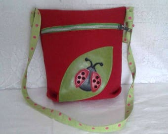 Girl red suede bag closed with zipper