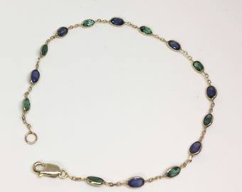 14kt Yellow Gold Natural Sapphire and Emerald Open Link Bracelet, Appraised 1,165 USD