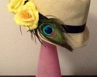 Borsalino Hat straw flowers artificial natural peacock feathers