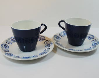 2 Vintage Poole Pottery Cups and Saucers Blue Morocco Pattern, Retro Cups and Saucers, 1960's Poole Pottery, Blue and White Tea Cups