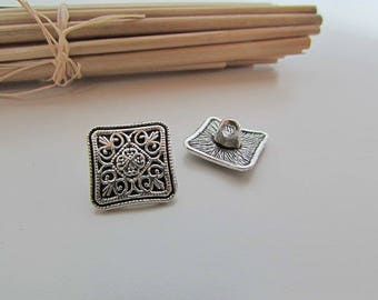 6 antique square buttons - 1.3 x 1.3 cm - metal antique silver tone - ref 51.3