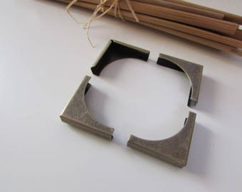 antique 12 silver metal book corners, for protection book or album - 2 x 2 x 0.3 cm